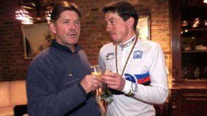 Eric De Vlaeminck è stato c.t. del Belgio dal 1989 al 2002: eccolo con Mario De Clerq. Bettini