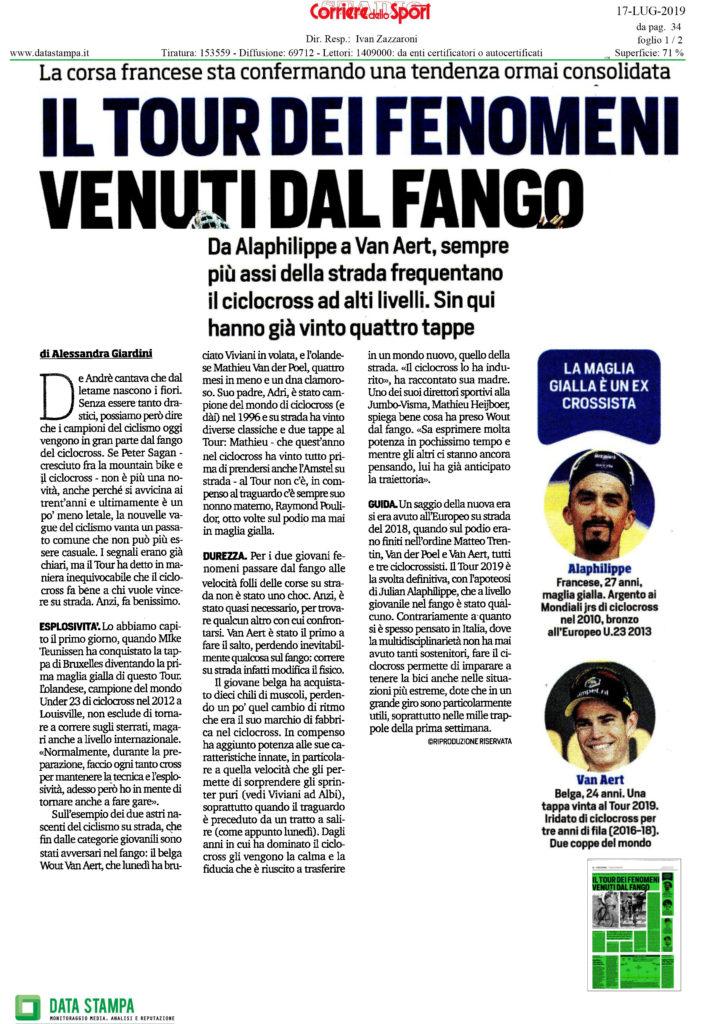 La prima pagina dell'articolo pubblicato dal Corriere dello Sport mercoledì 17 luglio